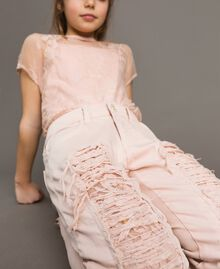 Skinny bull trousers with ripped details Blossom Pink Child 191GJ2061-0S