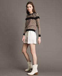 Animal print top with lace Mixed Animal Print Woman 191TP3413-0T