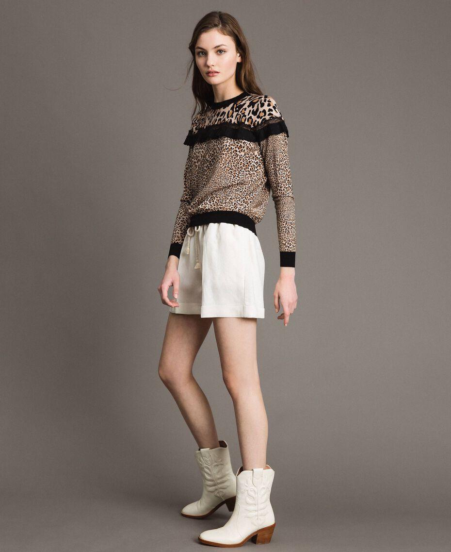Pullover mit Animal-Print und Spitze Motiv Verschiedene Tiere Frau 191TP3413-0T
