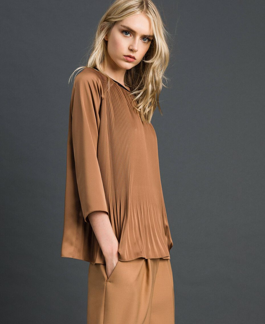 "Pleated blouse with three-quarter sleeves ""Sequoia"" Beige Woman 192ST2090-02"