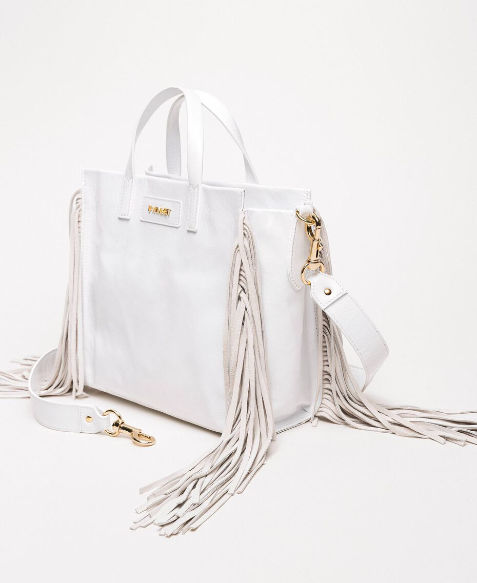 Medium leather shopper with fringes Nougat Beige Woman 201TO8141-01
