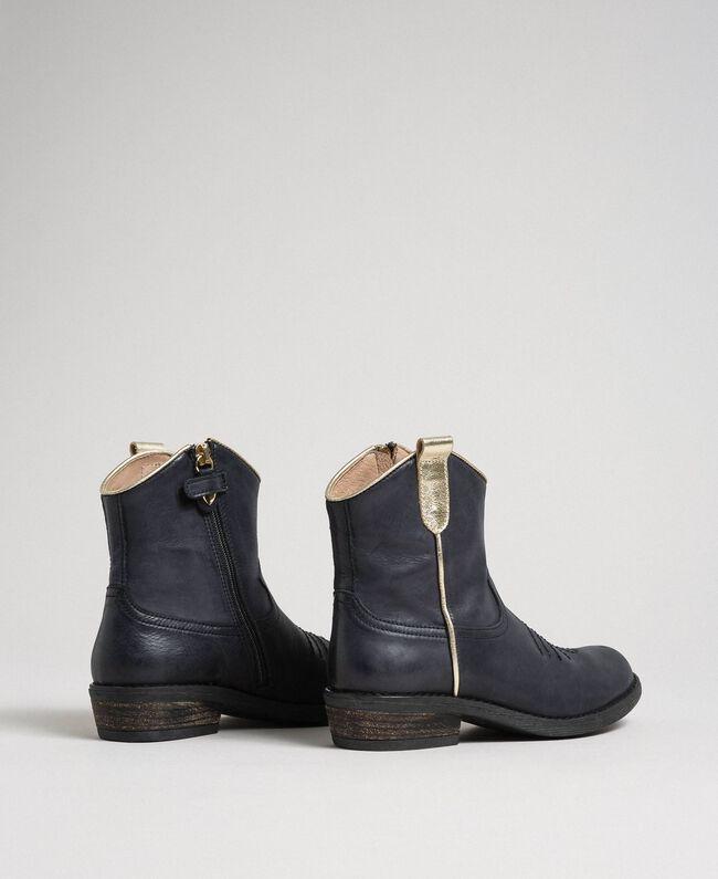 Bottines style santiags en cuir Noir Enfant 192GCJ02A-03