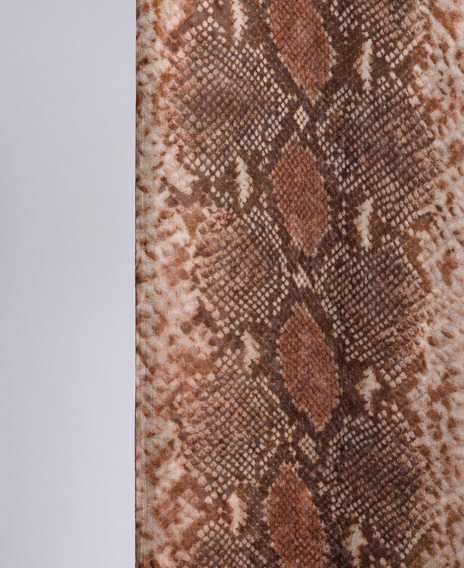 Animal print silk scarf Chocolate Snake Print Woman AA8P15-02