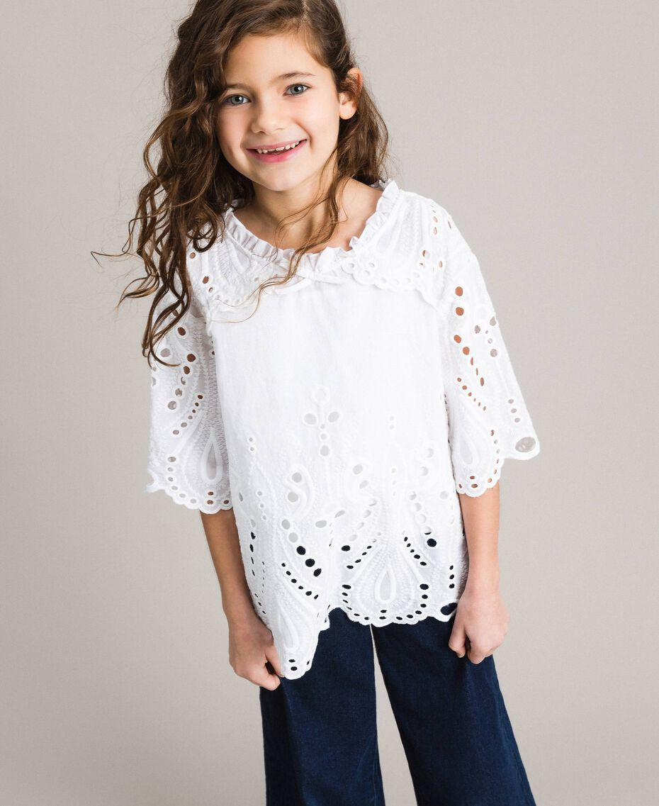 Muslin blouse with broderie anglaise embroidery White Child 191GJ2622-0S