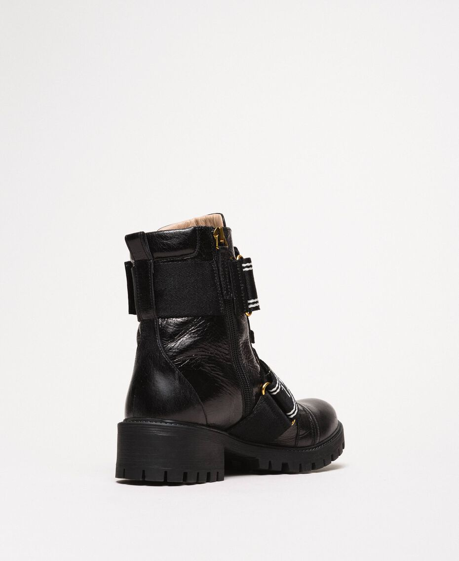 Leather combat boots with logo Black Woman 201TCP132-03