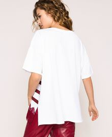 Oversize striped T-shirt with logo and lace Optical White / Crimson Red Woman 201ST2165-04