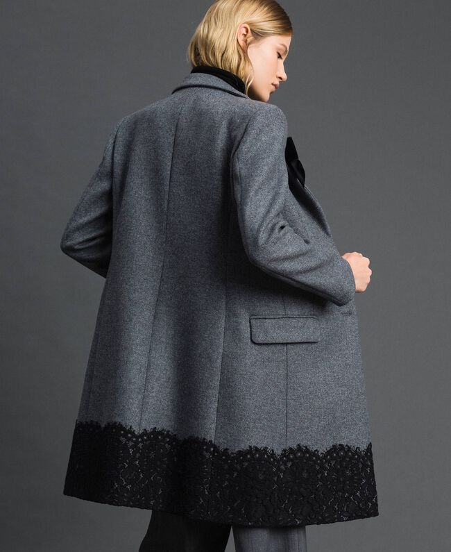 Mantel aus Tuch mit Spitze Durchschnittgrau-Mélange Frau 192TP2314-03