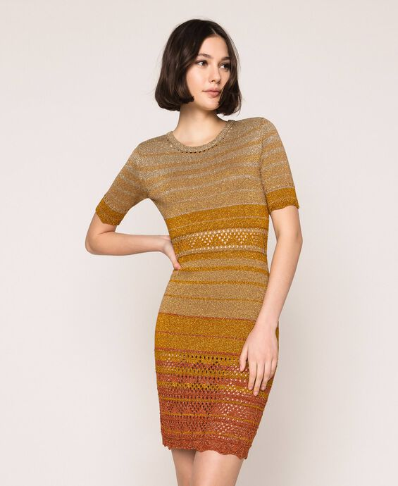 Striped lurex yarn dress