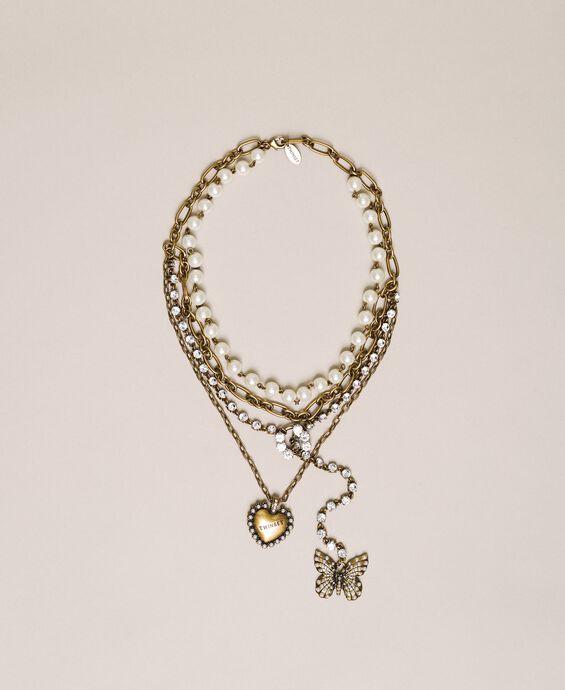 Mehrreihige Halskette mit Perlen, Ketten und Strass