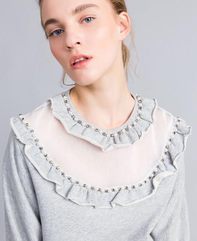 Maxi sweat en coton avec insertions en tulle Gris Mélangé Femme PA82CC-04