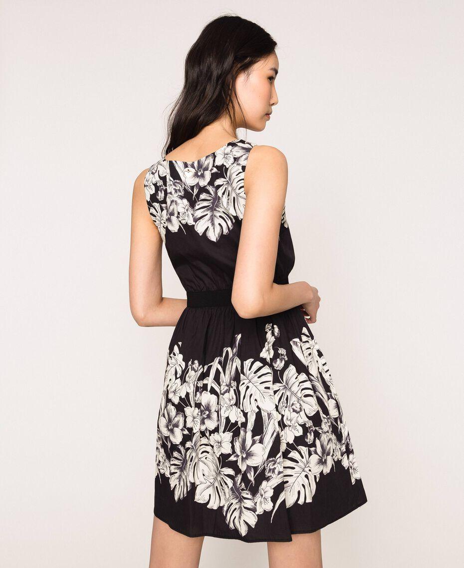 Robe en popeline florale Imprimé Fleur Graphique Noir Femme 201TT2312-03