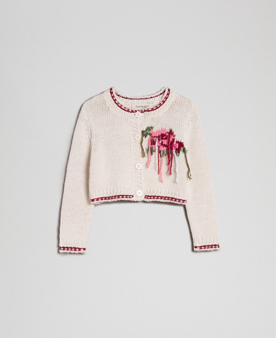 Cardigan mit Blumenintarsie Chantilly / Weinrubinrot Kind 192GB3020-01