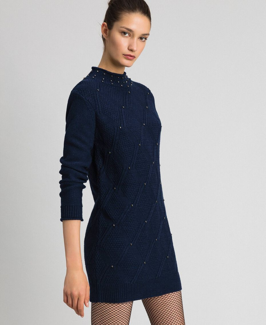 Wool blend mini dress with lozenges and studs Night Blue Woman 192ST3181-02