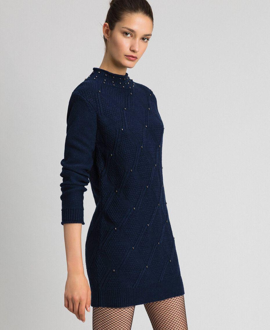 Mini-robe en laine mélangée avec losanges et clous Bleu Nuit Femme 192ST3181-02