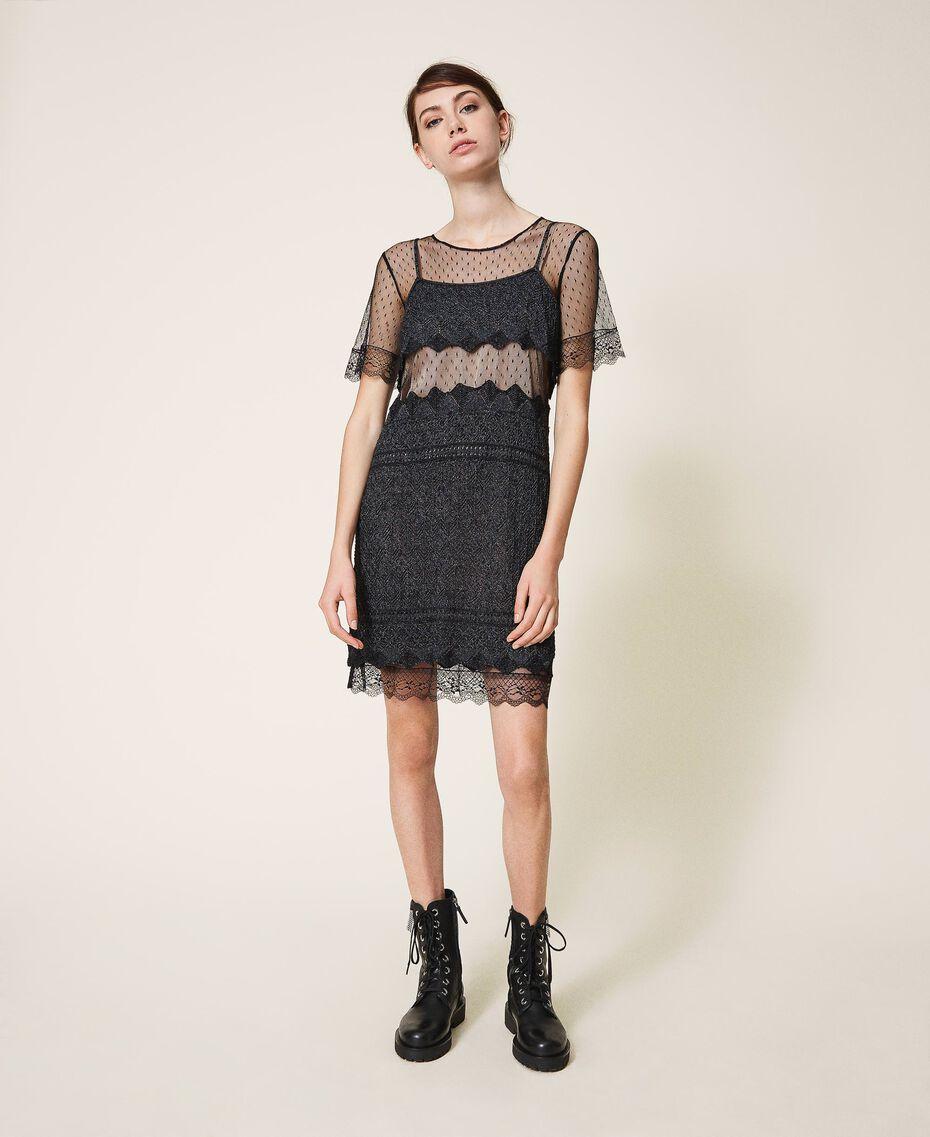 Vestido de punto con encaje y tul Negro Mujer 202TP3040-01