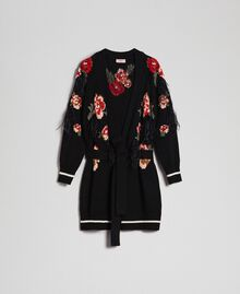 Maxi cardigan with floral jacquard and embroidery Black Woman 192TP3322-0S