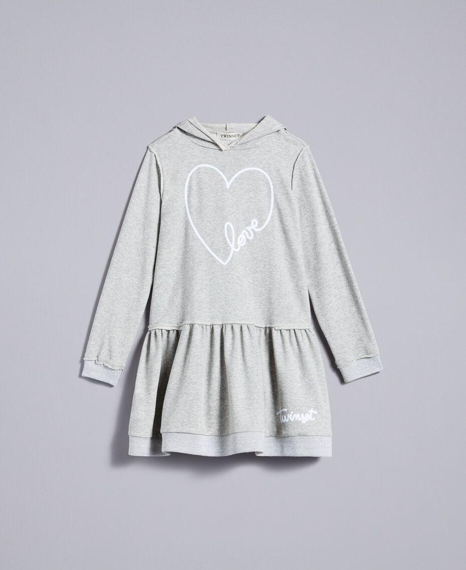 Платье из футера с принтом Серый Mélange Светлый Pебенок GA8261-01