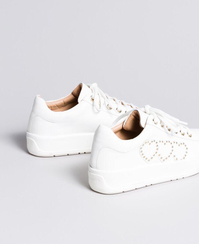 Sneakers aus Leder mit Herzen Weiß Frau CA8PAQ-03