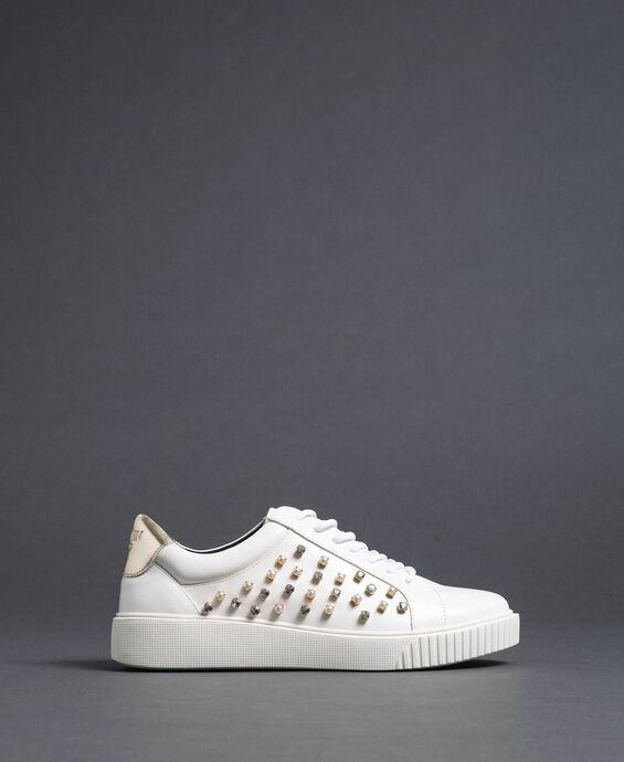 Faux leather trainers with rhinestones