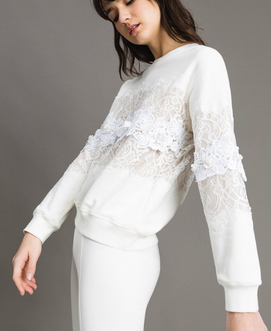 Lace and macramè sweatshirt Milk White Woman 191TP2592-02