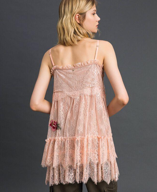 Top en dentelle de Valenciennes avec broderies florales Rose Pâle Femme 192TP2588-03