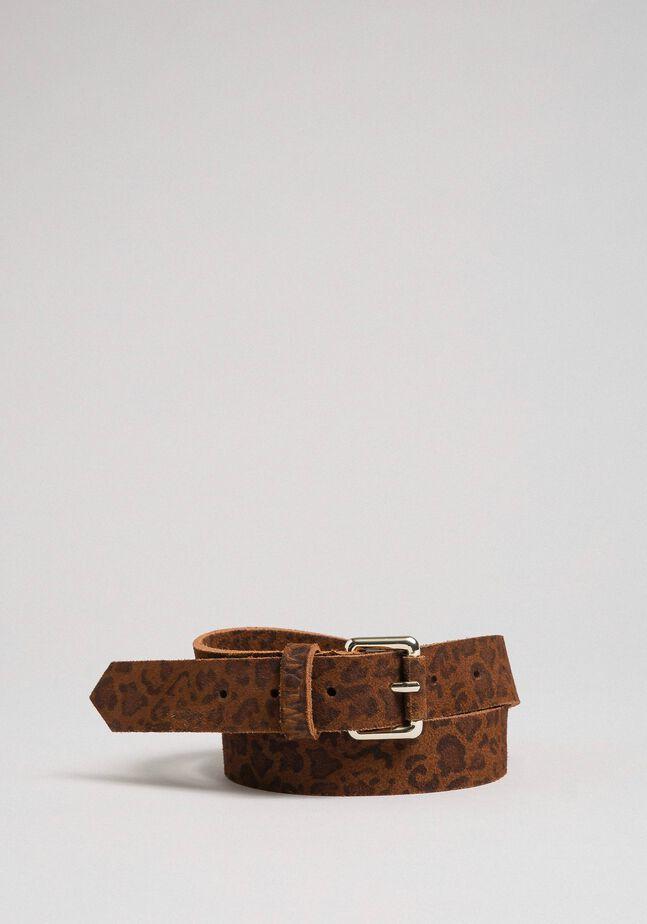 Animal print leather belt