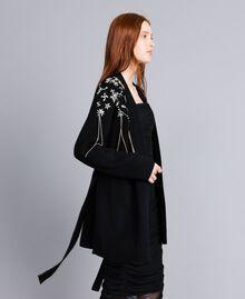 Wool-blend embroidered maxi cardigan Black Woman QA8TJP-03