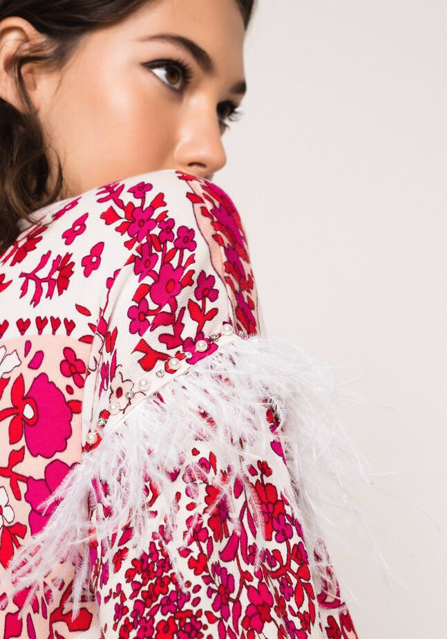 Printed jumper with feathers