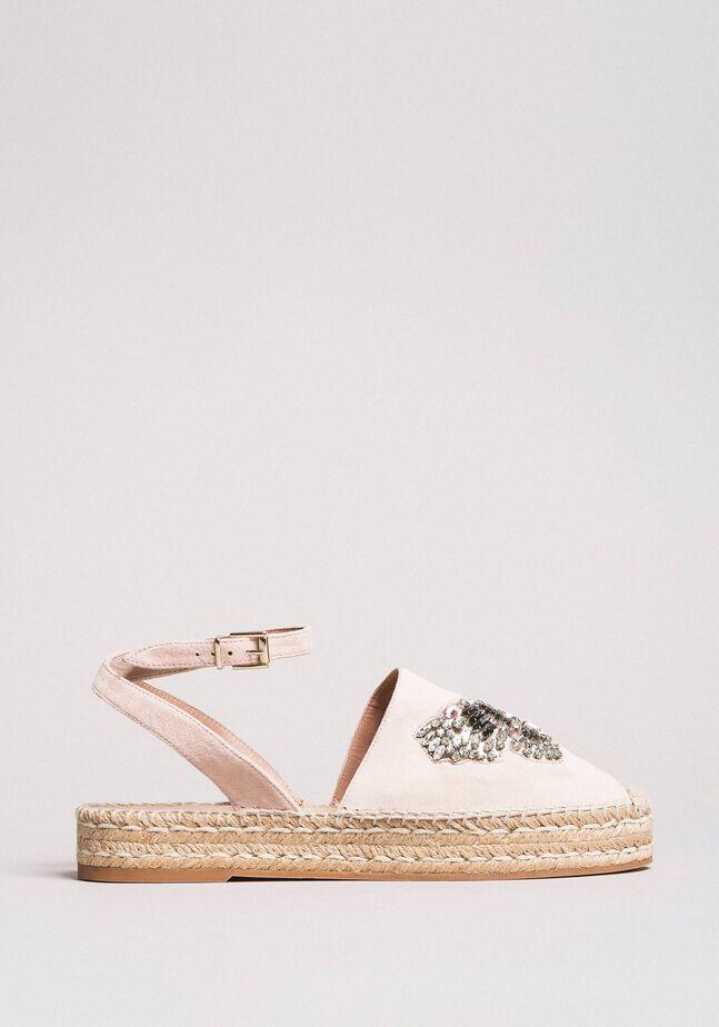 Leather espadrilles with jewelry butterfly
