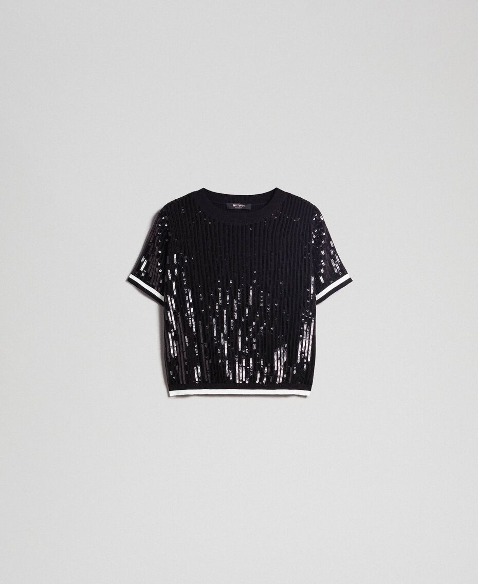 Cropped-Pullover mit aufgestickten Pailletten Zweifarbig Schwarz / Lilie Frau 192MP3122-0S