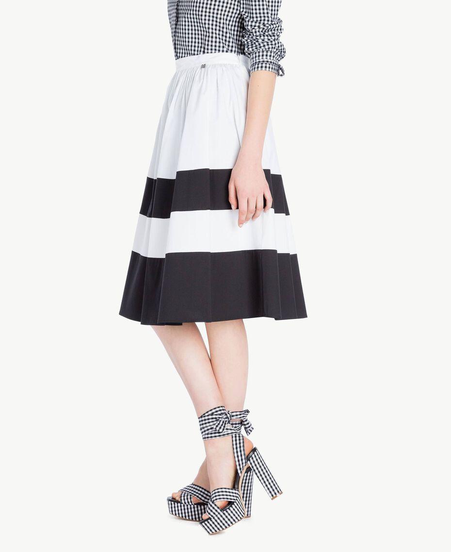 Poplin skirt Optical White / Black Woman YS82FD-02
