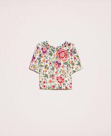 Maglia-cardigan stampata con ricamo Stampa Fiori Sugar Coral Donna 201TT3170-0S