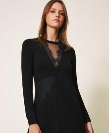 Robe en laine mélangée avec dentelle Noir Femme 202TT3130-04