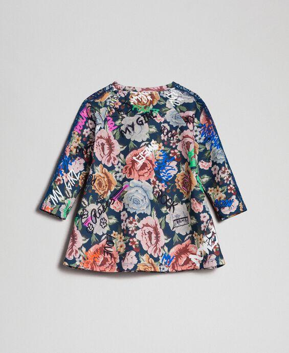 Robe en scuba avec imprimé floral et graffiti