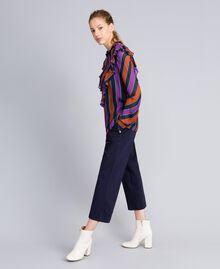 Blouse en crêpe georgette rayé Imprimé Rayure Multicolore Femme TA8291-03
