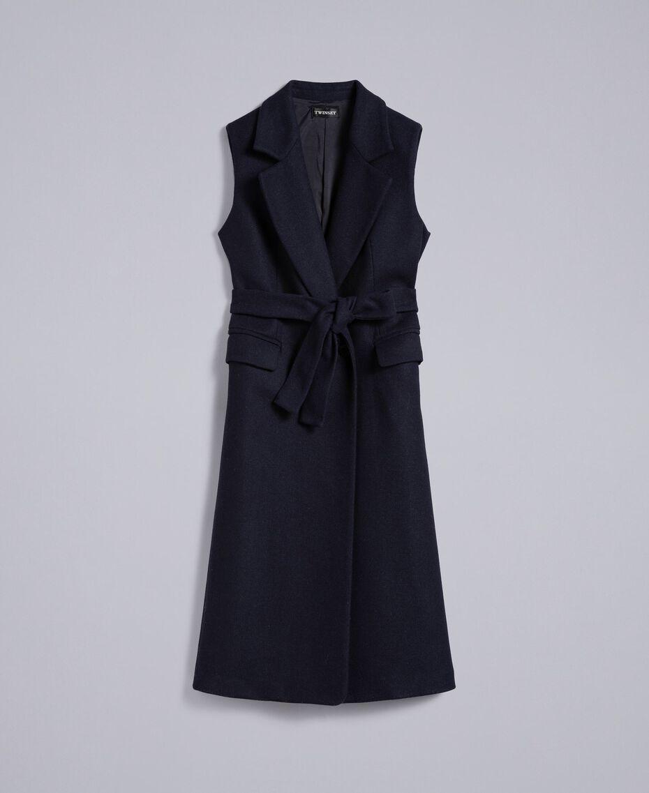 Lange Weste aus Tuch Nachtblau Frau TA821F-0S