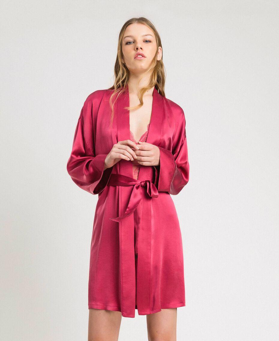 Robe de chambre en satin Bouton De Rose Femme 191LL2DEE-0S