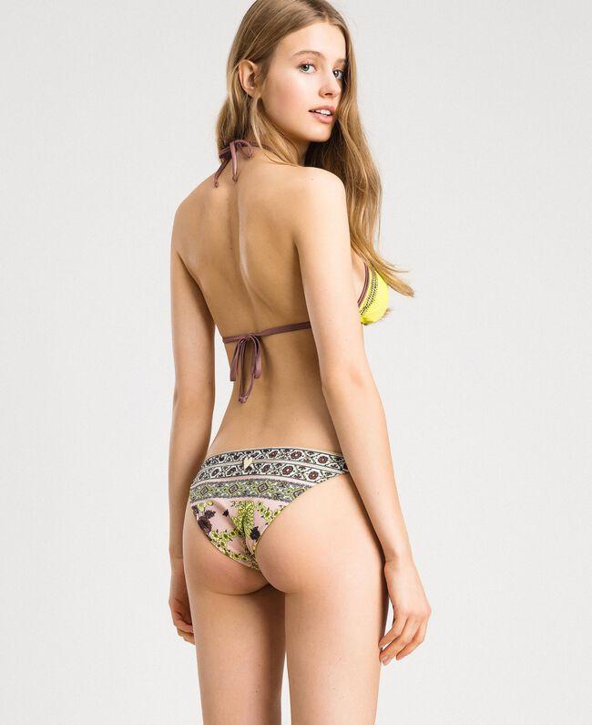 "Bikini mit Strass und Foulard-Print Motiv ""Lemon Juice"" Gelb Schal Frau 191LBMHWW-03"