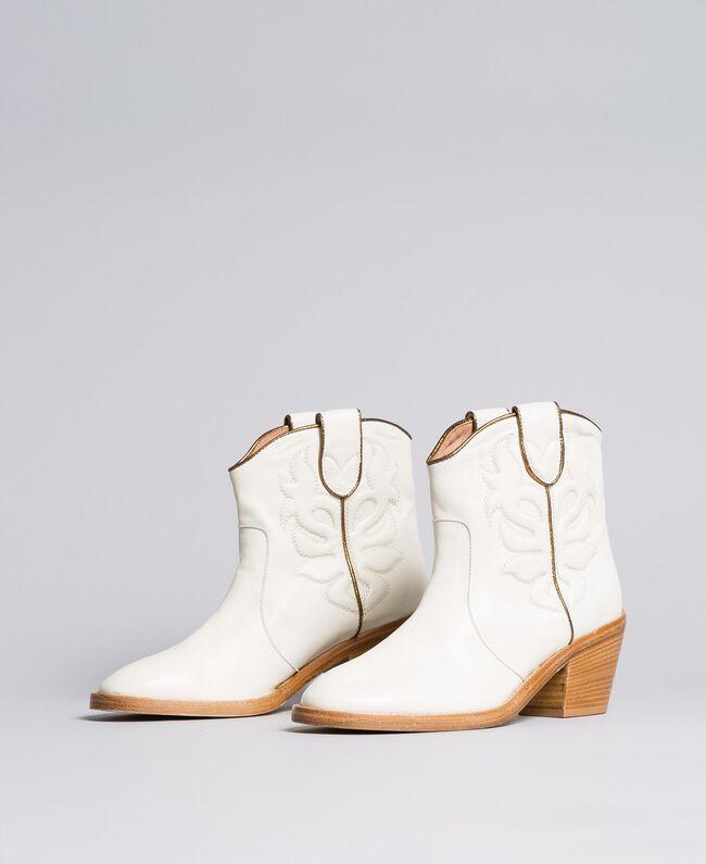 Boots à talons en cuir avec broderie Blanc Neige Femme CA8TGA-01