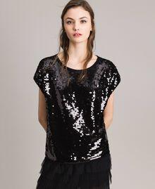 T-Shirt mit Pailletten Schwarz Frau 191MP206G-01