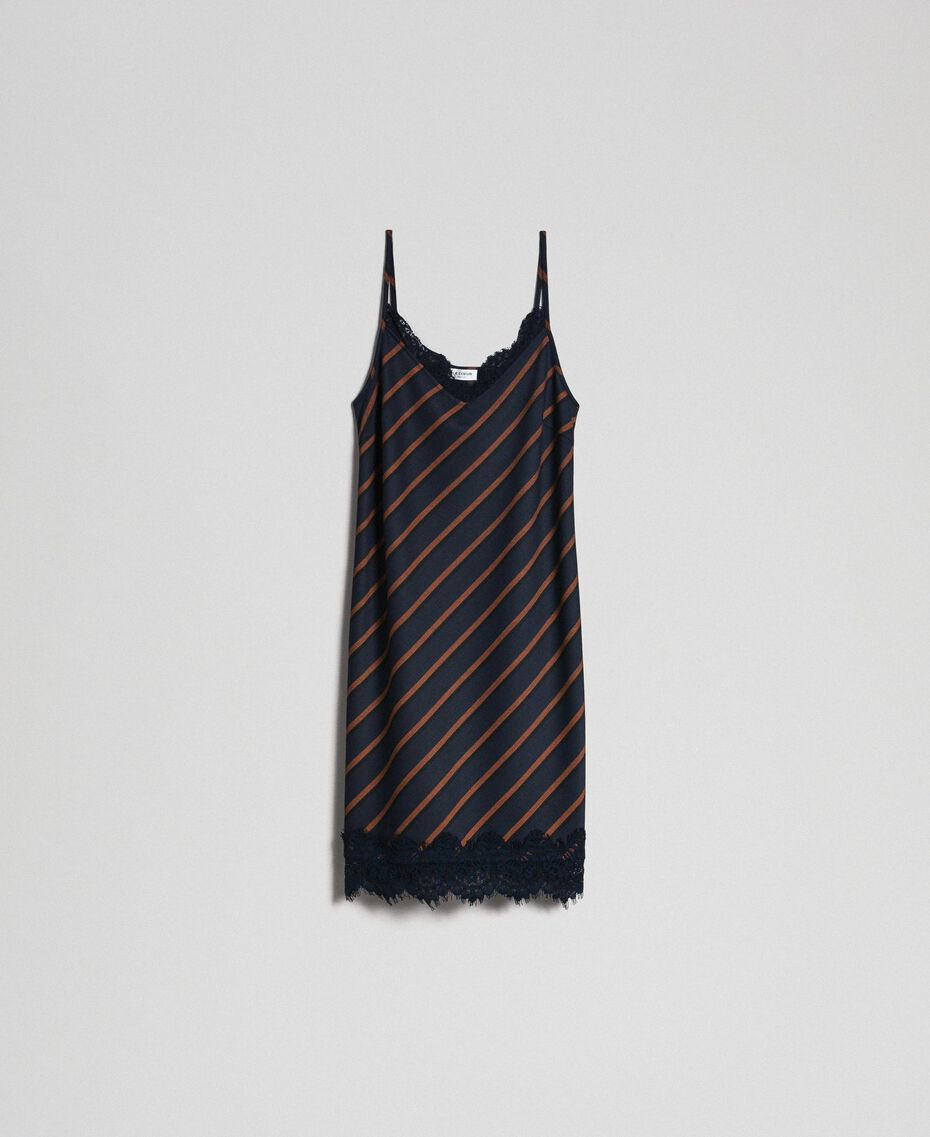 Robe nuisette rayée avec dentelle Rayé Bleu Nuit / Terre Battue Femme 192ST2234-0S