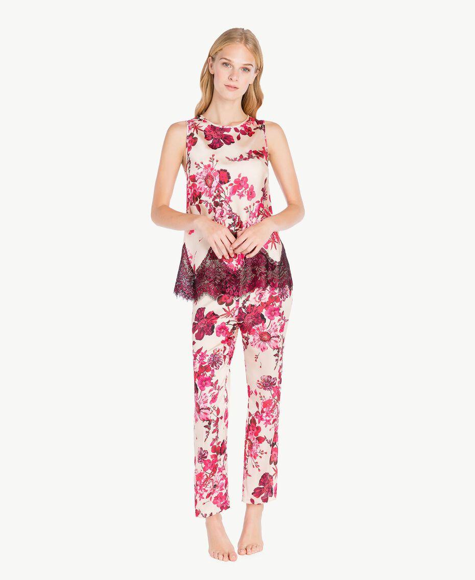 "Pantalon grandes fleurs Imprimé Fleurs Fuchsia ""Loves Bites"" IA7KAA-03"