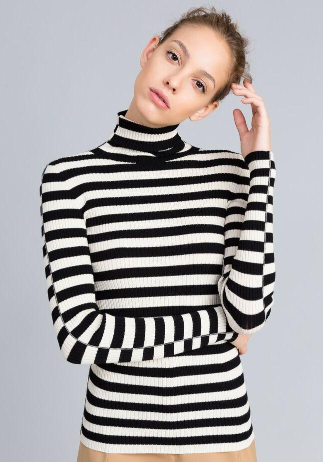 Striped viscose mock neck jumper