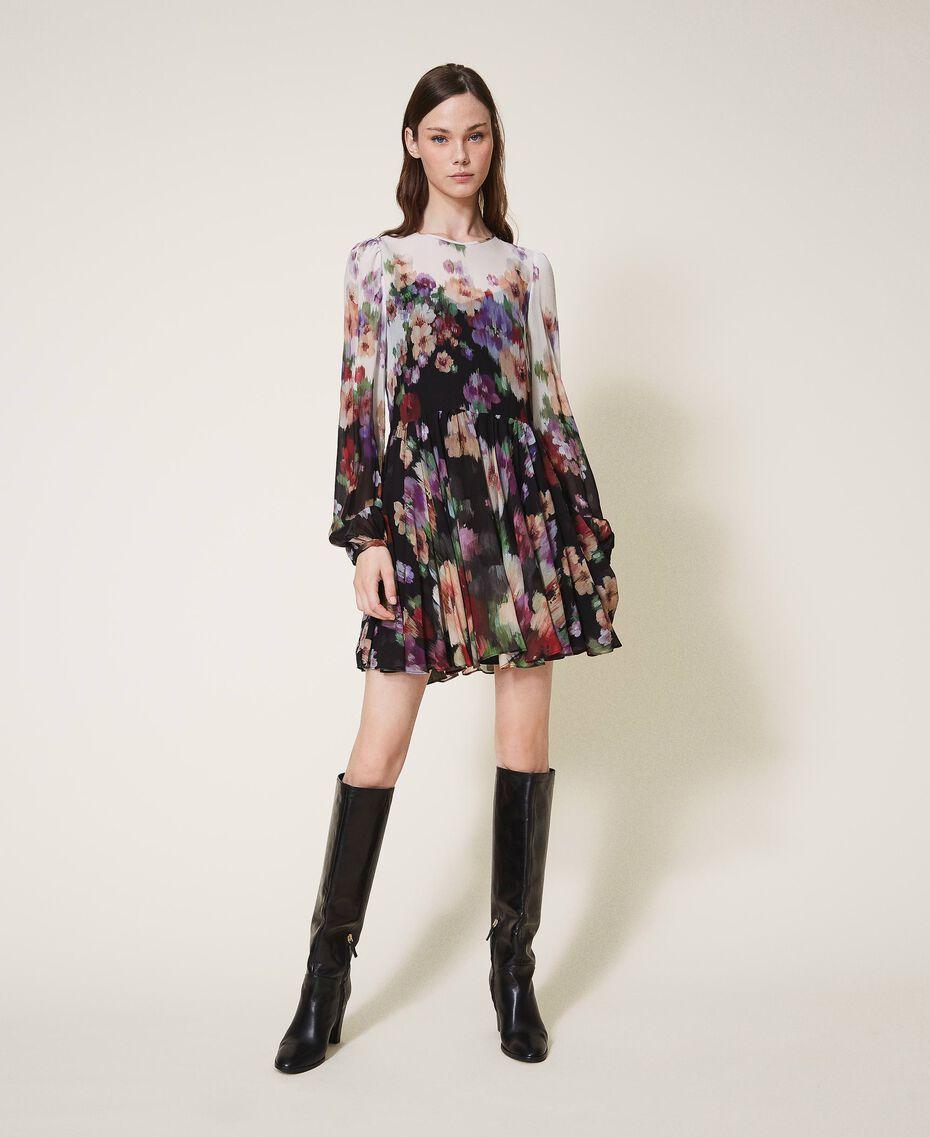 Платье из жоржета с цветочным принтом Принт Деграде Цветы Черный / Слоновая кость женщина 202TT2381-01