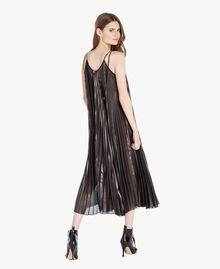 "Long pleated dress Metallic ""Gunmetal"" Black Woman PS82QP-03"