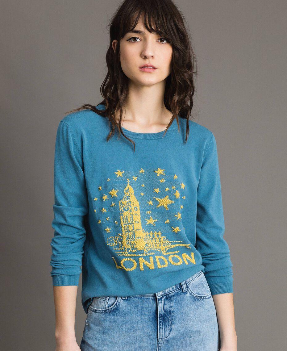 Maglia con intarsio a tema Londra Mykonos Blue Chiaro Donna 191TP3380-01