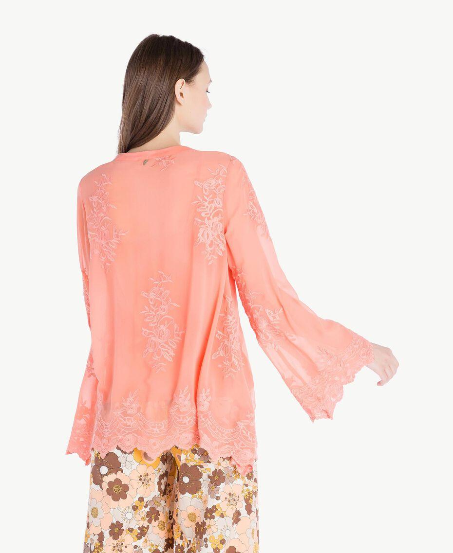 Bluse mit Stickerei Coral Pink Frau SS82JA-03