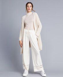 Maxi cardigan en coton et laine Blanc Femme IA87AA-0T
