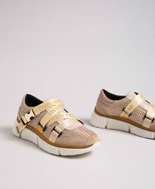 """Faux leather and mesh running shoes """"Pale Pink"""" Woman 192MCT130-02"""