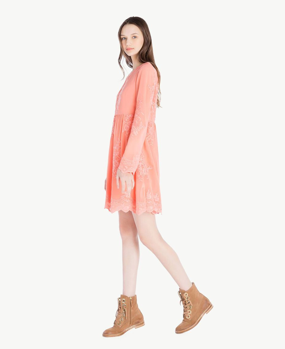 Robe broderie Rose Corail Femme SS82JD-02